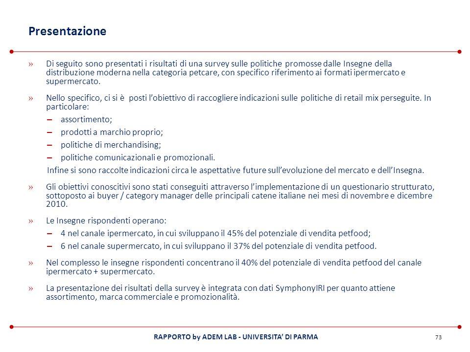 RAPPORTO by ADEM LAB - UNIVERSITA DI PARMA Presentazione » Di seguito sono presentati i risultati di una survey sulle politiche promosse dalle Insegne