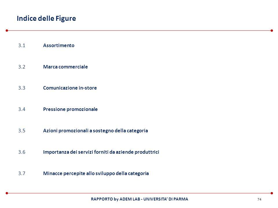 RAPPORTO by ADEM LAB - UNIVERSITA DI PARMA Indice delle Figure 74 3.1Assortimento 3.2Marca commerciale 3.3Comunicazione in-store 3.4Pressione promozio