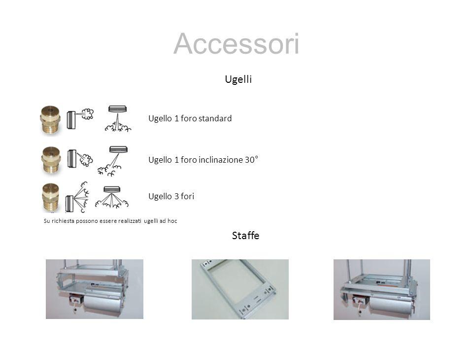 Accessori Ugelli Staffe Ugello 1 foro standard Ugello 1 foro inclinazione 30° Ugello 3 fori Su richiesta possono essere realizzati ugelli ad hoc