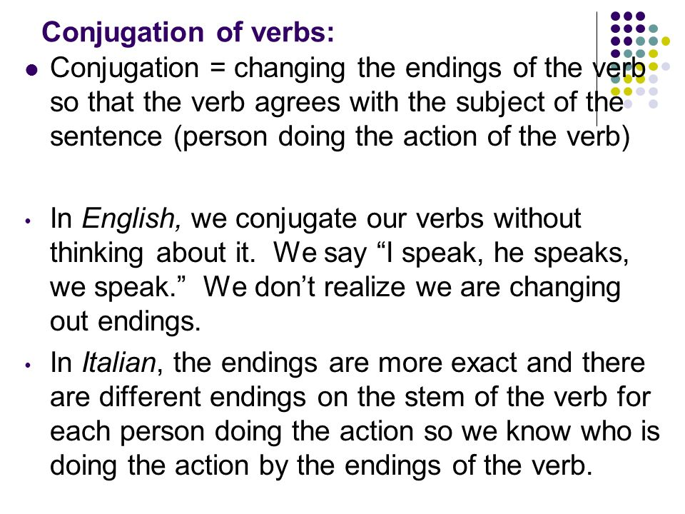 Conjugation of verbs: Conjugation = changing the endings of the verb so that the verb agrees with the subject of the sentence (person doing the action of the verb) In English, we conjugate our verbs without thinking about it.