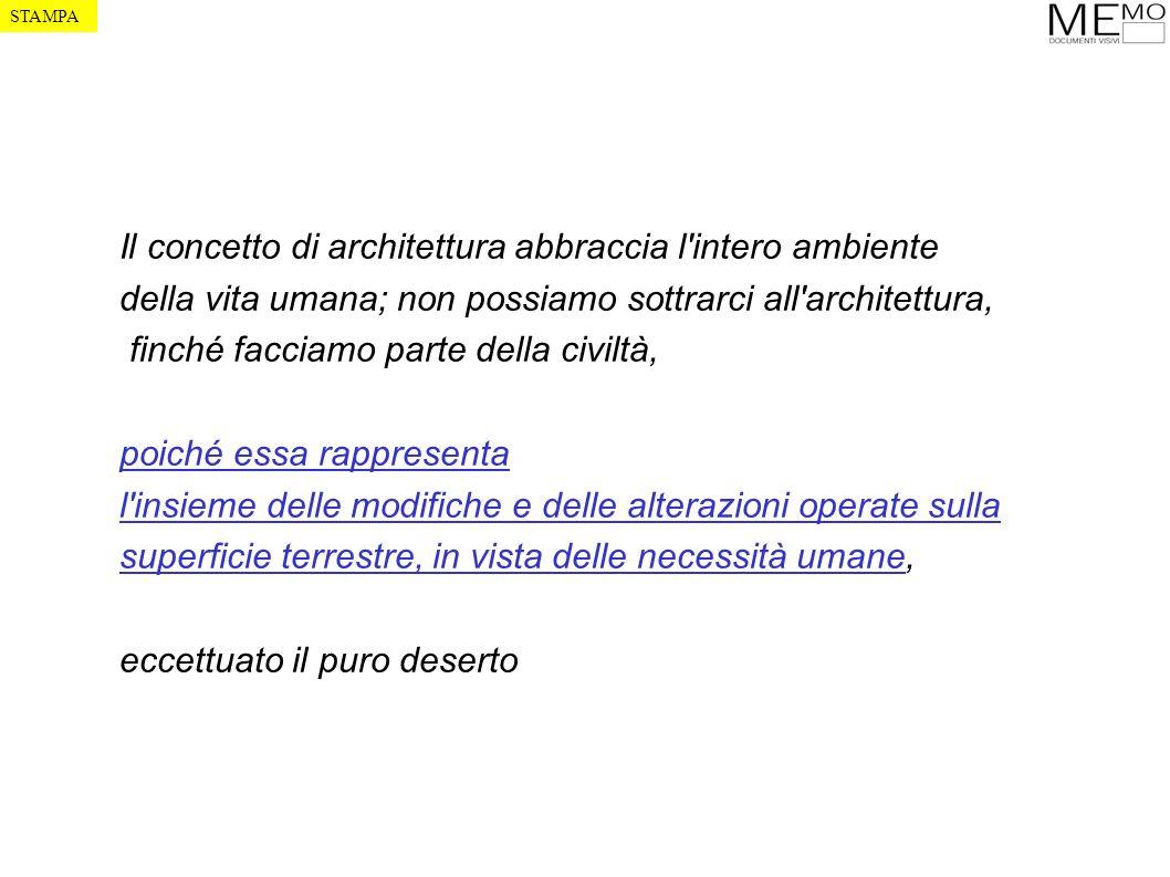 Il concetto di architettura abbraccia l'intero ambiente della vita umana; non possiamo sottrarci all'architettura, finché facciamo parte della civiltà
