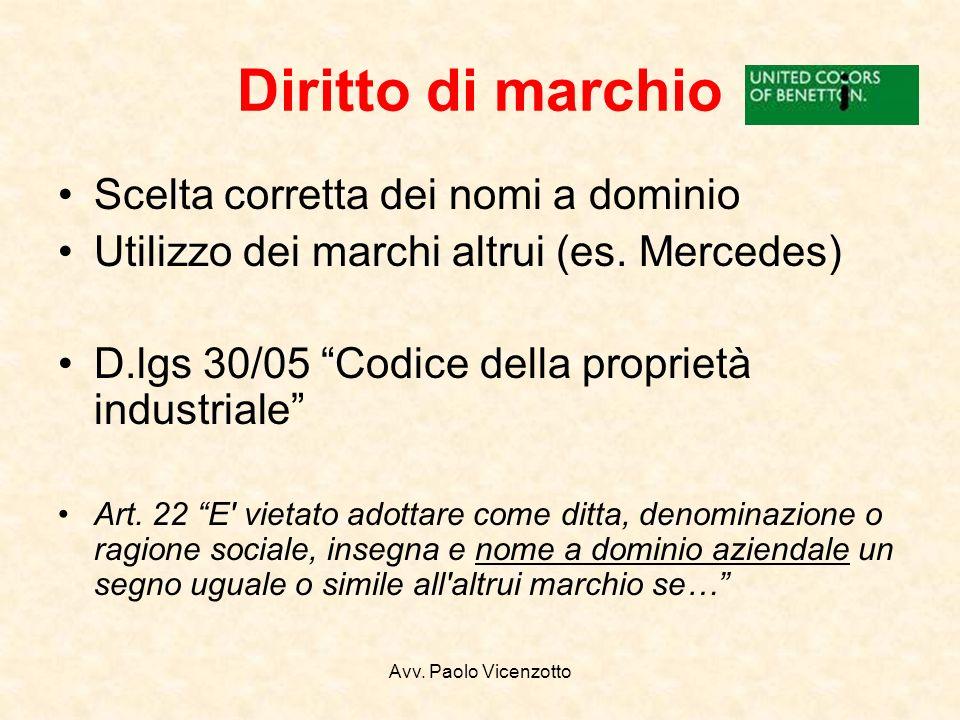 Avv. Paolo Vicenzotto Diritto di marchio Scelta corretta dei nomi a dominio Utilizzo dei marchi altrui (es. Mercedes) D.lgs 30/05 Codice della proprie