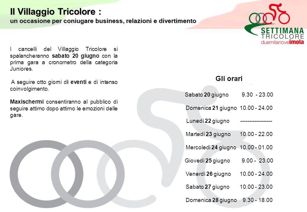 I cancelli del Villaggio Tricolore si spalancheranno sabato 20 giugno con la prima gara a cronometro della categoria Juniores.