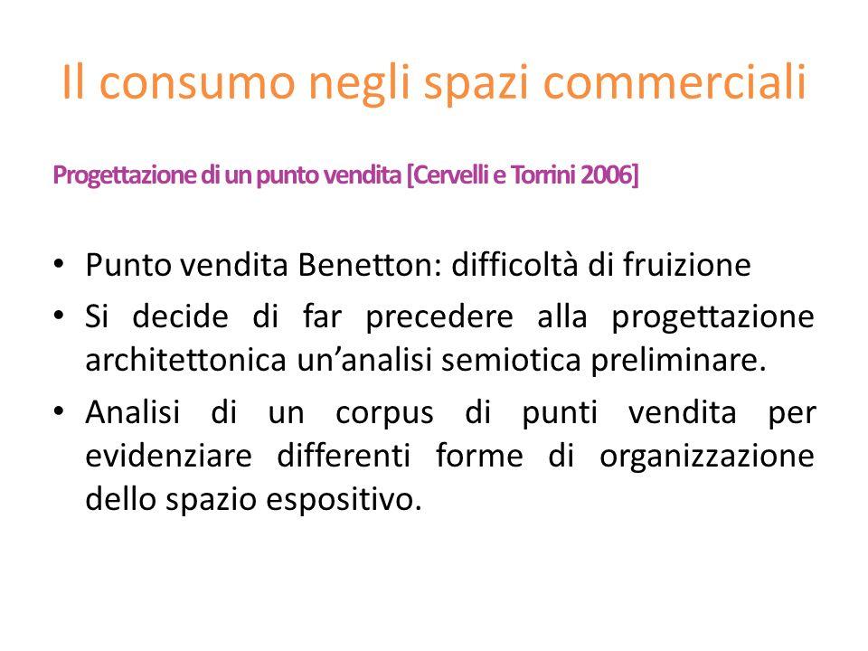 Progettazione di un punto vendita [Cervelli e Torrini 2006] Punto vendita Benetton: difficoltà di fruizione Si decide di far precedere alla progettazi