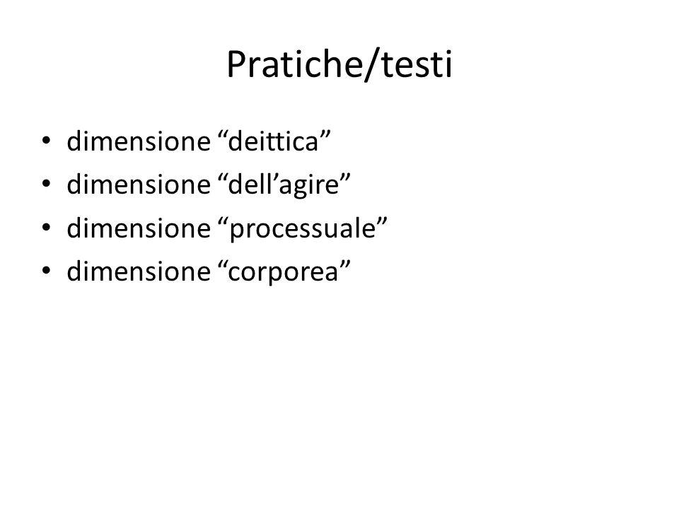 Pratiche/testi dimensione deittica dimensione dellagire dimensione processuale dimensione corporea
