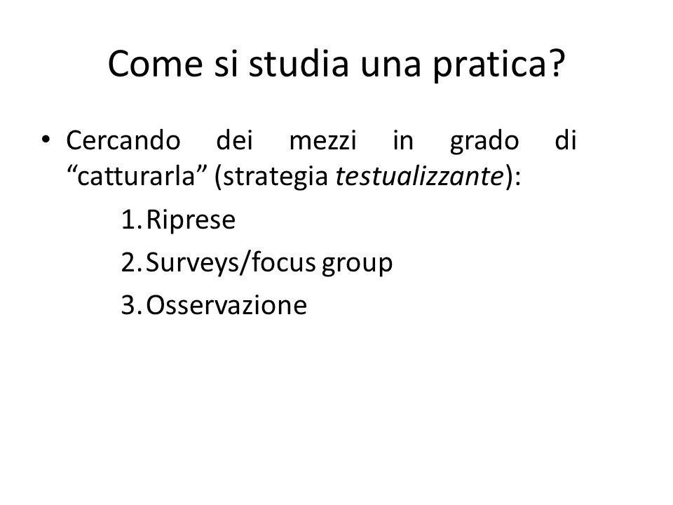 Come si studia una pratica? Cercando dei mezzi in grado di catturarla (strategia testualizzante): 1.Riprese 2.Surveys/focus group 3.Osservazione