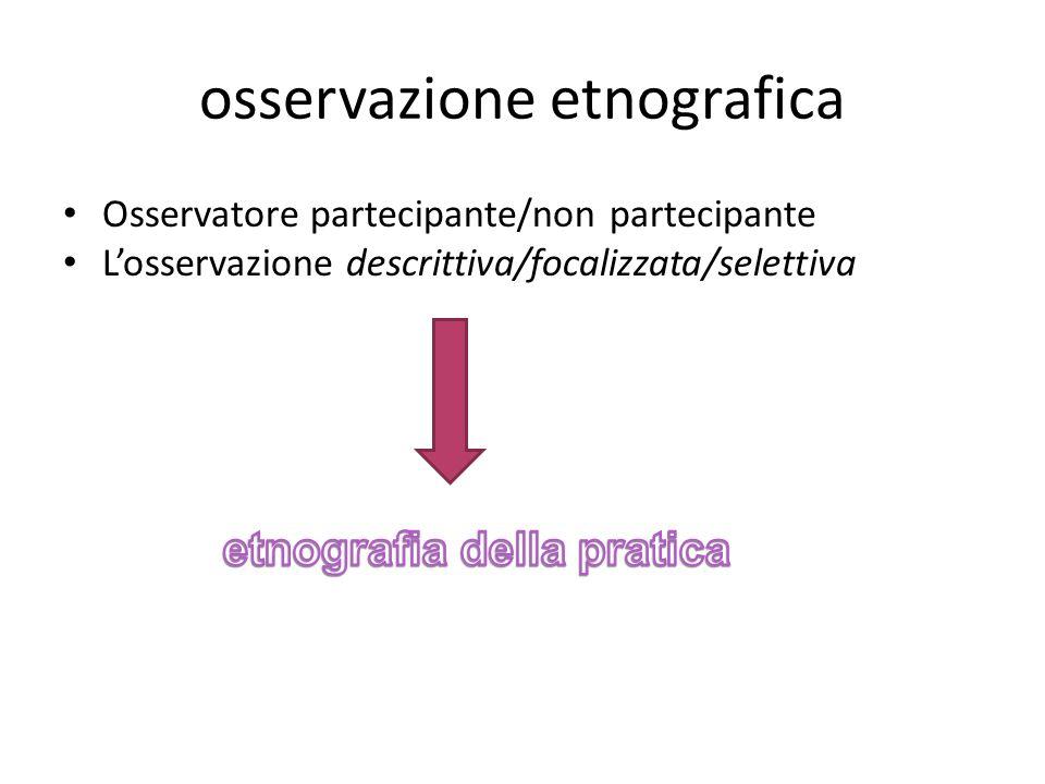 osservazione etnografica Osservatore partecipante/non partecipante Losservazione descrittiva/focalizzata/selettiva