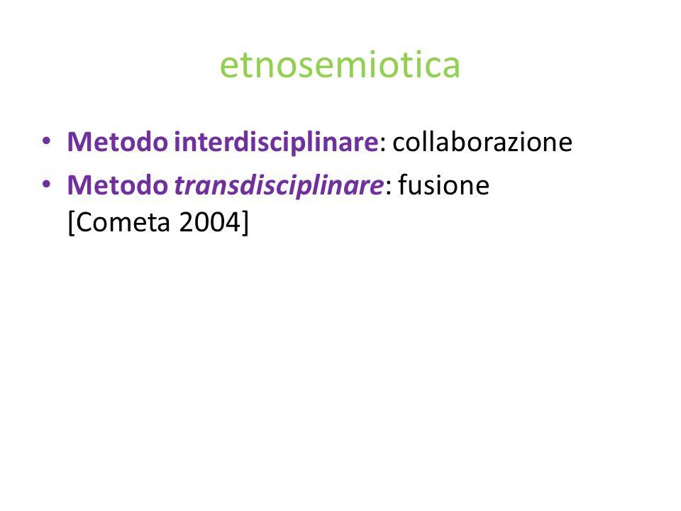 etnosemiotica Metodo interdisciplinare: collaborazione Metodo transdisciplinare: fusione [Cometa 2004]