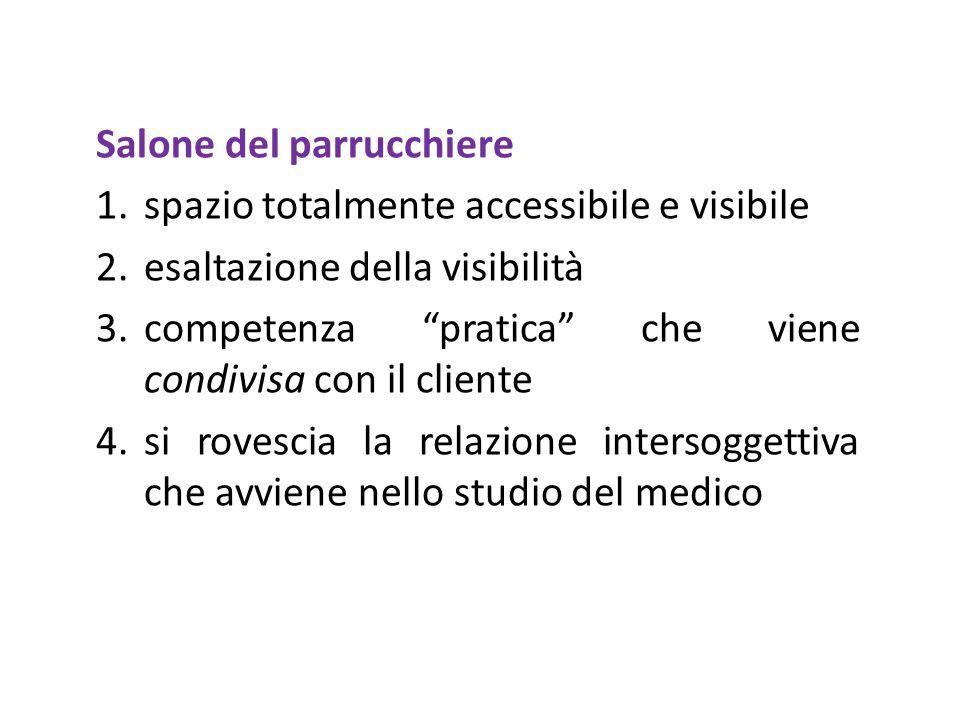 Salone del parrucchiere 1.spazio totalmente accessibile e visibile 2.esaltazione della visibilità 3.competenza pratica che viene condivisa con il clie