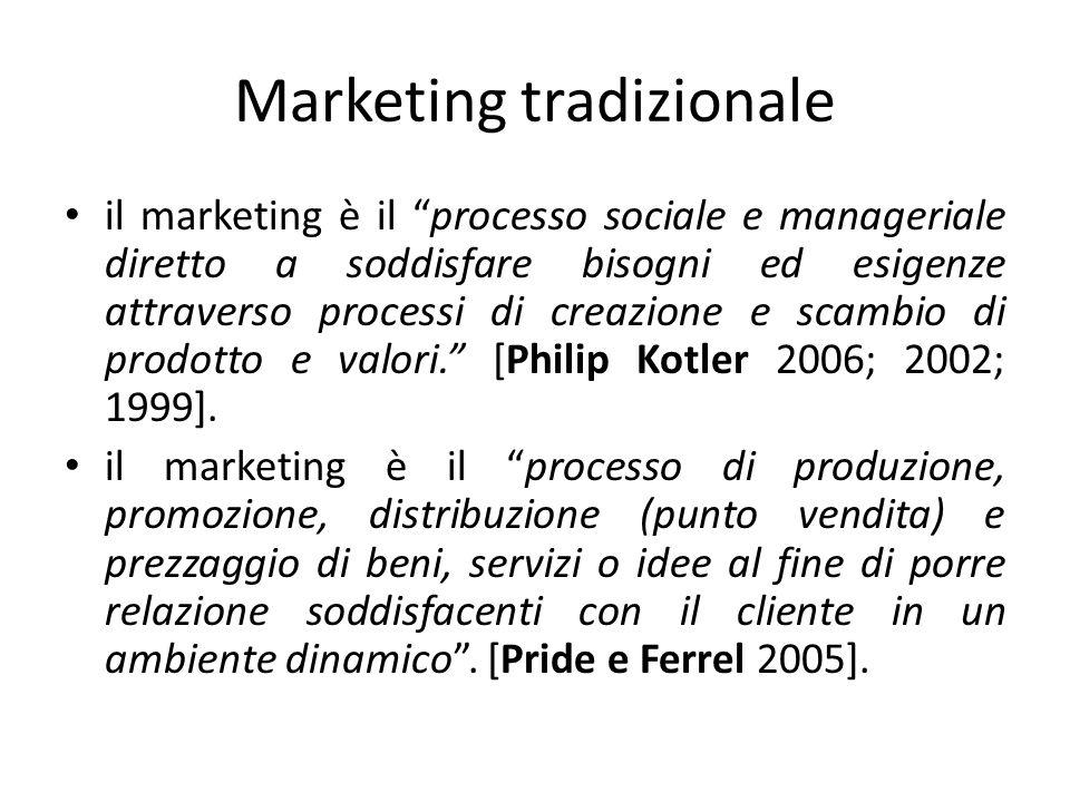 Marketing tradizionale il marketing è il processo sociale e manageriale diretto a soddisfare bisogni ed esigenze attraverso processi di creazione e sc
