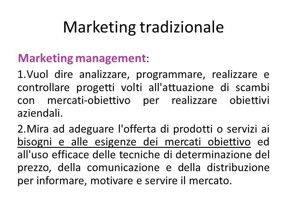 Marketing tradizionale Marketing management : 1.Vuol dire analizzare, programmare, realizzare e controllare progetti volti all'attuazione di scambi co