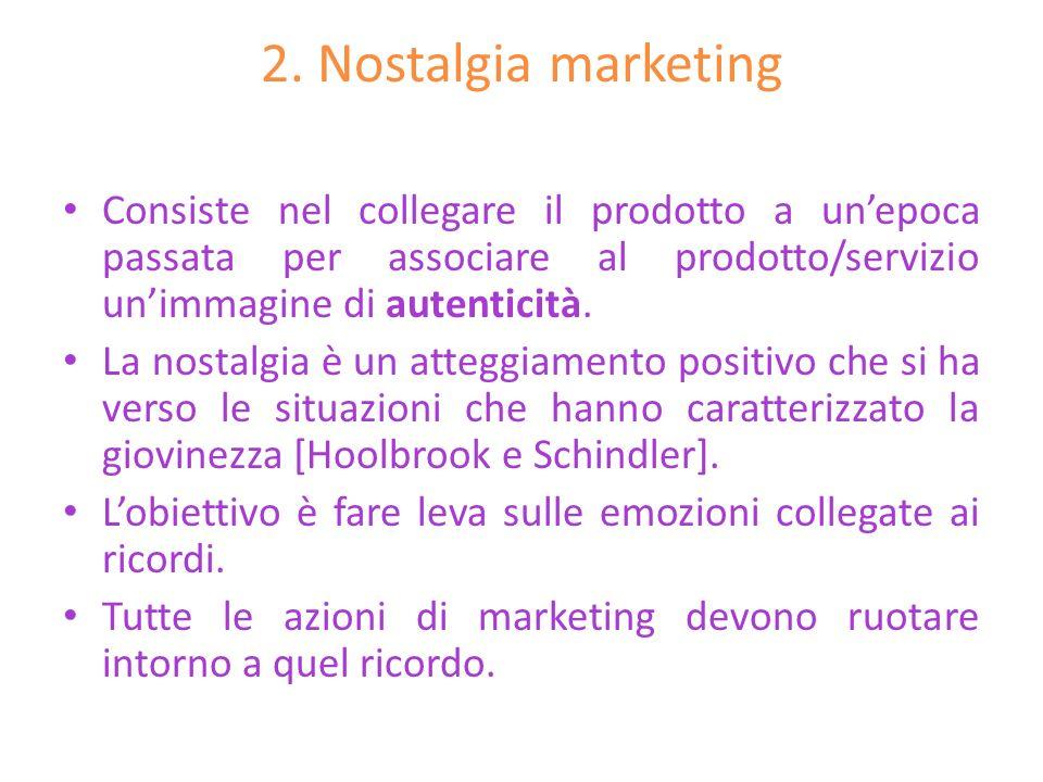 2. Nostalgia marketing Consiste nel collegare il prodotto a unepoca passata per associare al prodotto/servizio unimmagine di autenticità. La nostalgia