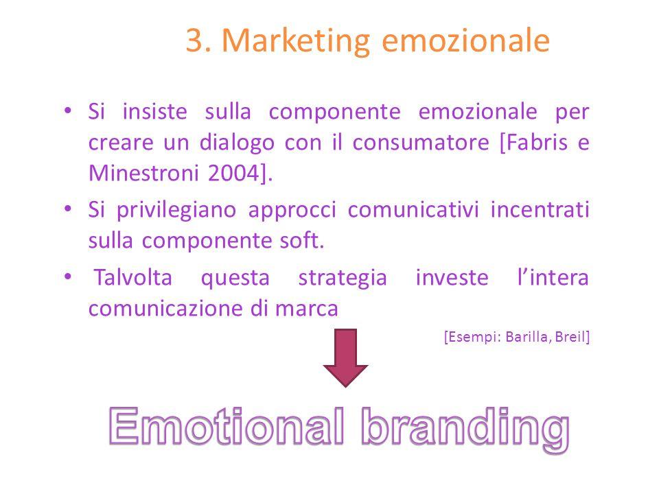 3. Marketing emozionale Si insiste sulla componente emozionale per creare un dialogo con il consumatore [Fabris e Minestroni 2004]. Si privilegiano ap
