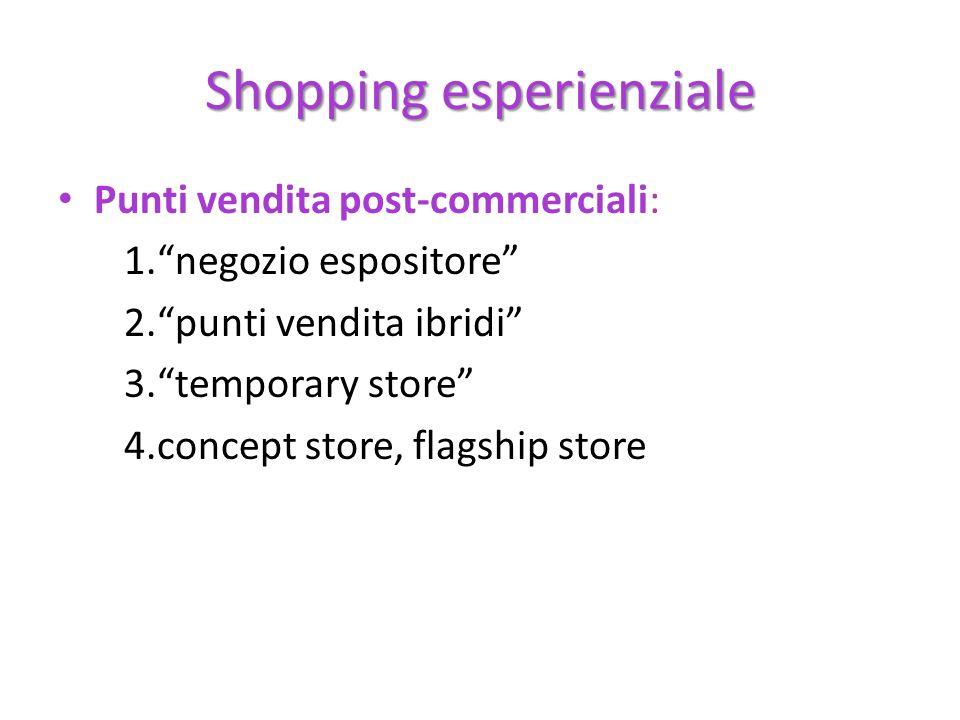 Shopping esperienziale Punti vendita post-commerciali: 1.negozio espositore 2.punti vendita ibridi 3.temporary store 4.concept store, flagship store