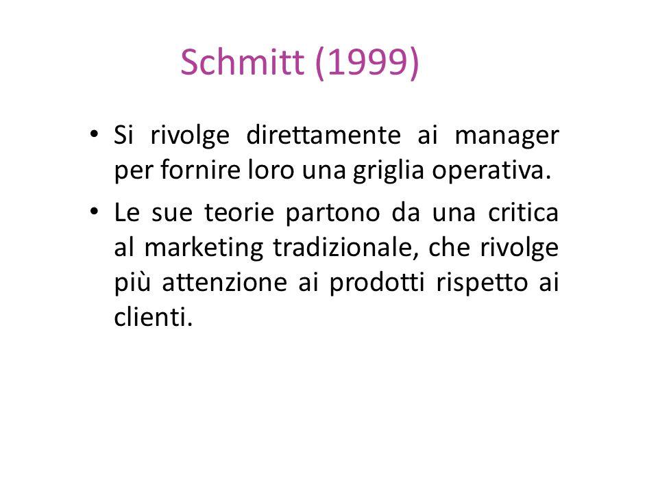 Schmitt (1999) Si rivolge direttamente ai manager per fornire loro una griglia operativa. Le sue teorie partono da una critica al marketing tradiziona