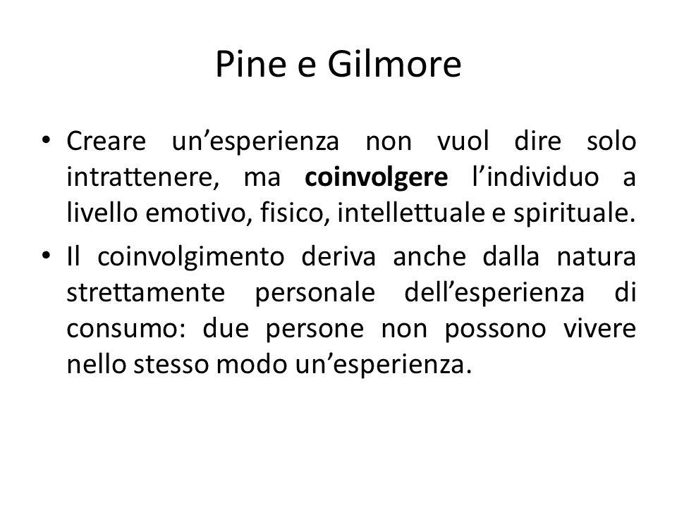 Pine e Gilmore Creare unesperienza non vuol dire solo intrattenere, ma coinvolgere lindividuo a livello emotivo, fisico, intellettuale e spirituale. I