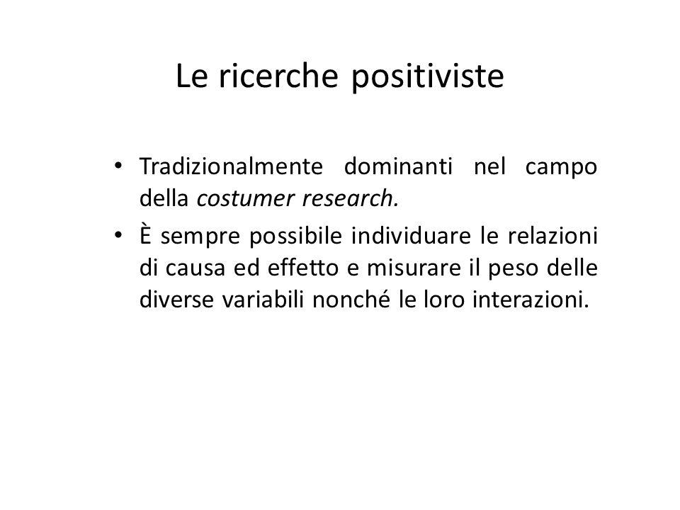 Le ricerche positiviste Tradizionalmente dominanti nel campo della costumer research. È sempre possibile individuare le relazioni di causa ed effetto