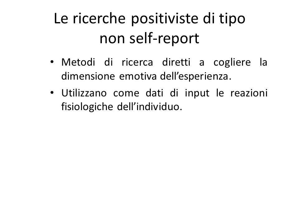 Le ricerche positiviste di tipo non self-report Metodi di ricerca diretti a cogliere la dimensione emotiva dellesperienza. Utilizzano come dati di inp