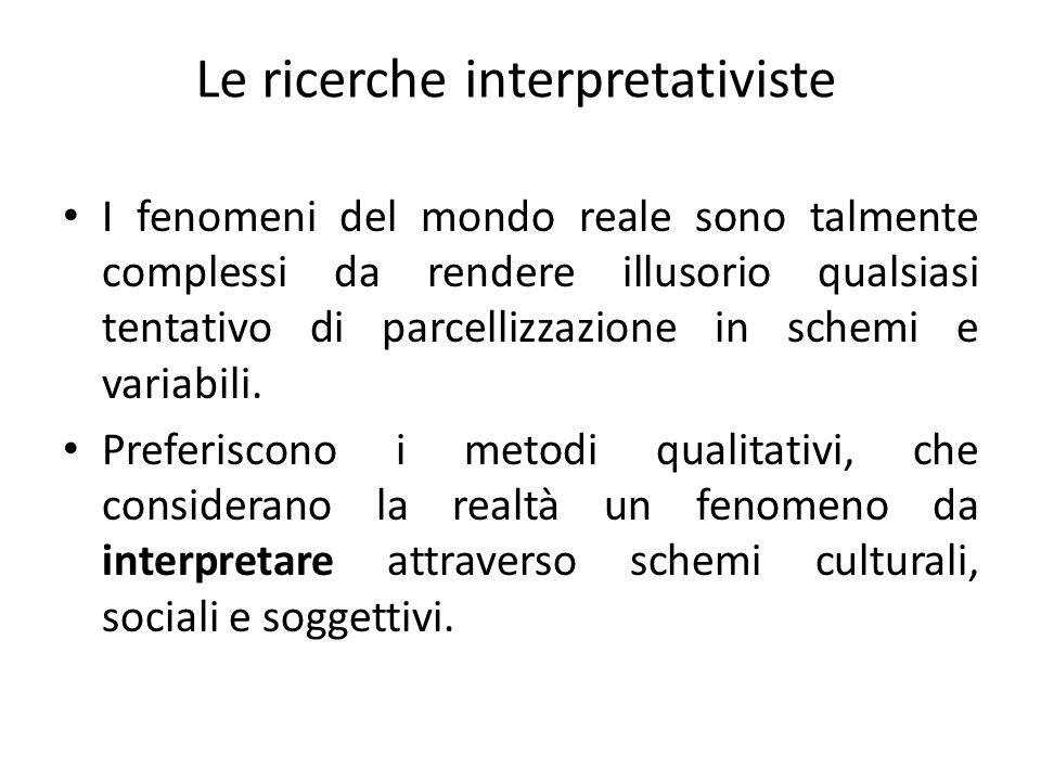 Le ricerche interpretativiste I fenomeni del mondo reale sono talmente complessi da rendere illusorio qualsiasi tentativo di parcellizzazione in schem
