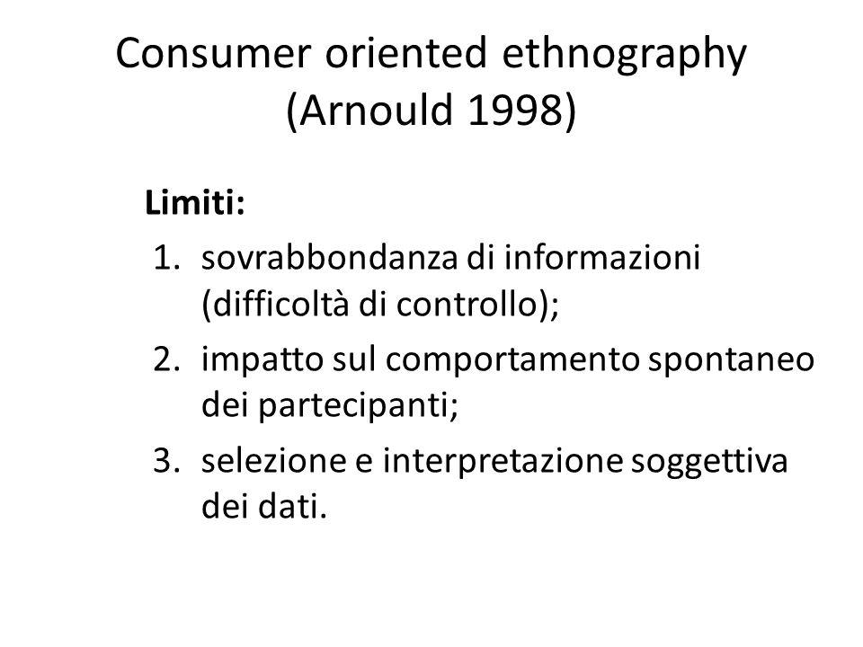 Consumer oriented ethnography (Arnould 1998) Limiti: 1.sovrabbondanza di informazioni (difficoltà di controllo); 2.impatto sul comportamento spontaneo