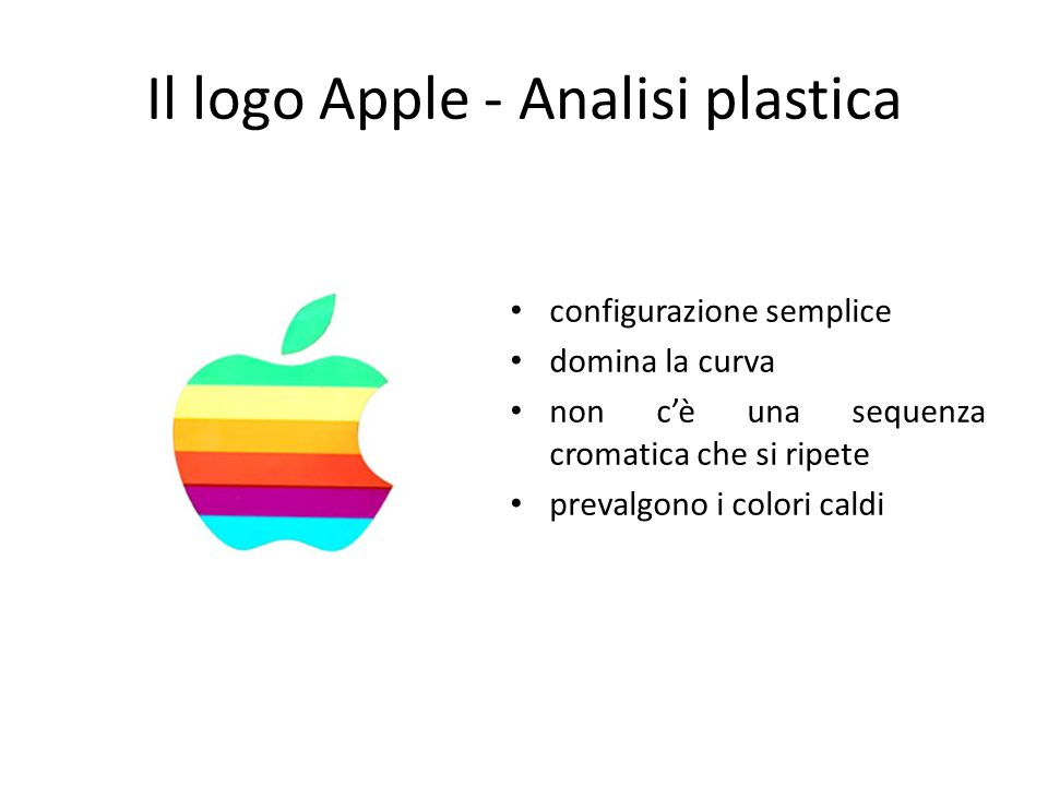 Il logo Apple - Analisi plastica configurazione semplice domina la curva non cè una sequenza cromatica che si ripete prevalgono i colori caldi