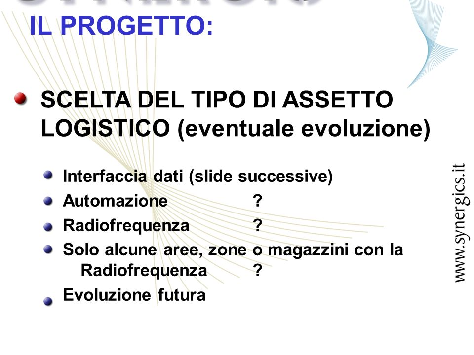 SCELTA DEL TIPO DI ASSETTO LOGISTICO (eventuale evoluzione) IL PROGETTO: Interfaccia dati (slide successive) Automazione.