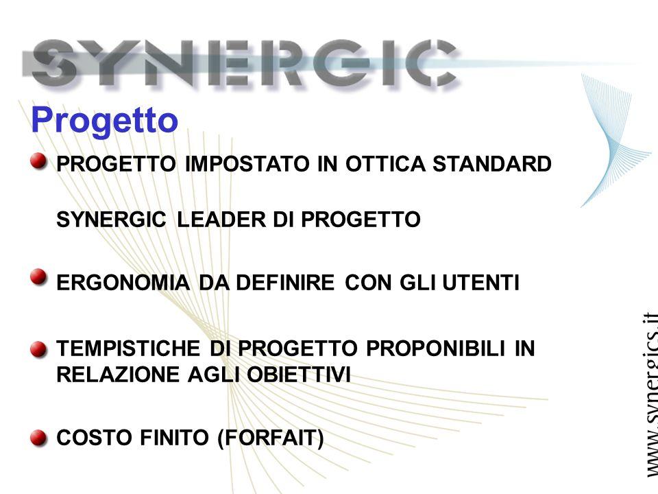 Progetto PROGETTO IMPOSTATO IN OTTICA STANDARD SYNERGIC LEADER DI PROGETTO ERGONOMIA DA DEFINIRE CON GLI UTENTI TEMPISTICHE DI PROGETTO PROPONIBILI IN RELAZIONE AGLI OBIETTIVI COSTO FINITO (FORFAIT)