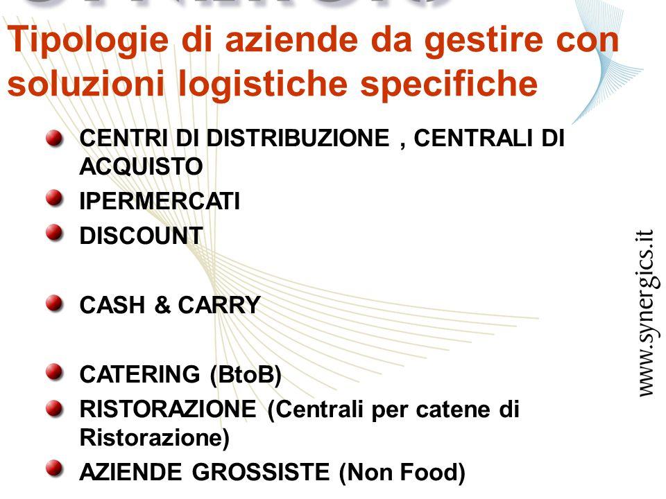 CENTRI DI DISTRIBUZIONE, CENTRALI DI ACQUISTO IPERMERCATI DISCOUNT CASH & CARRY CATERING (BtoB) RISTORAZIONE (Centrali per catene di Ristorazione) AZIENDE GROSSISTE (Non Food) Tipologie di aziende da gestire con soluzioni logistiche specifiche