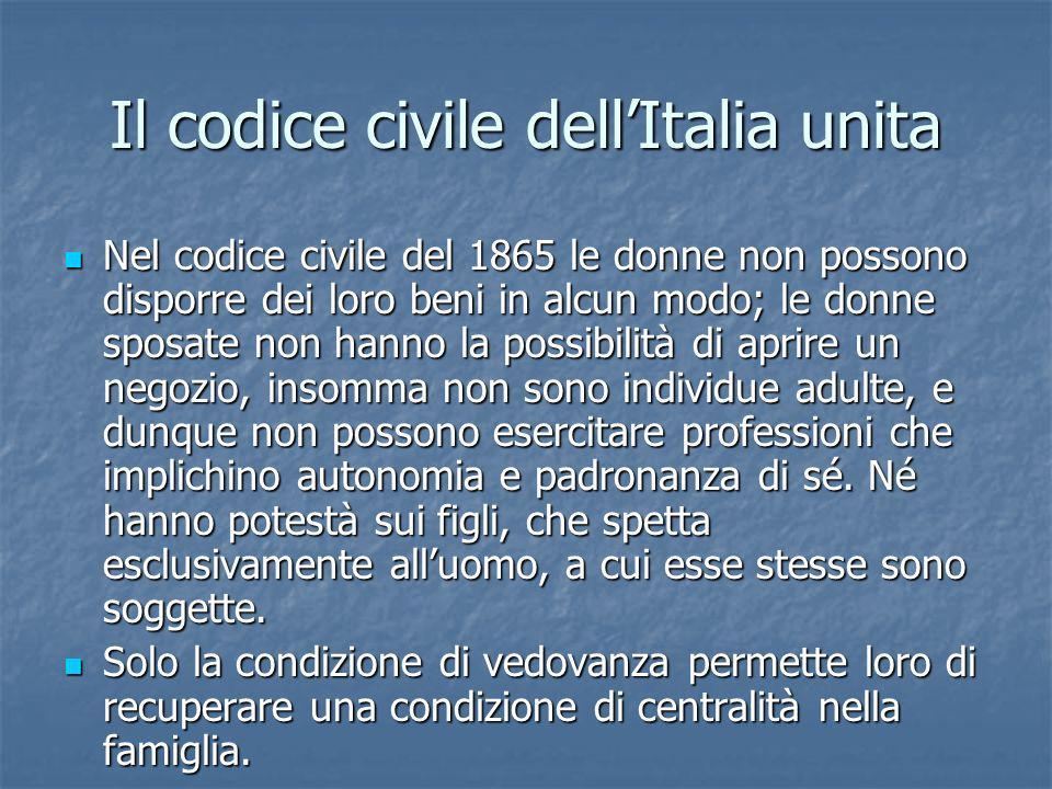 Il codice civile dellItalia unita Nel codice civile del 1865 le donne non possono disporre dei loro beni in alcun modo; le donne sposate non hanno la