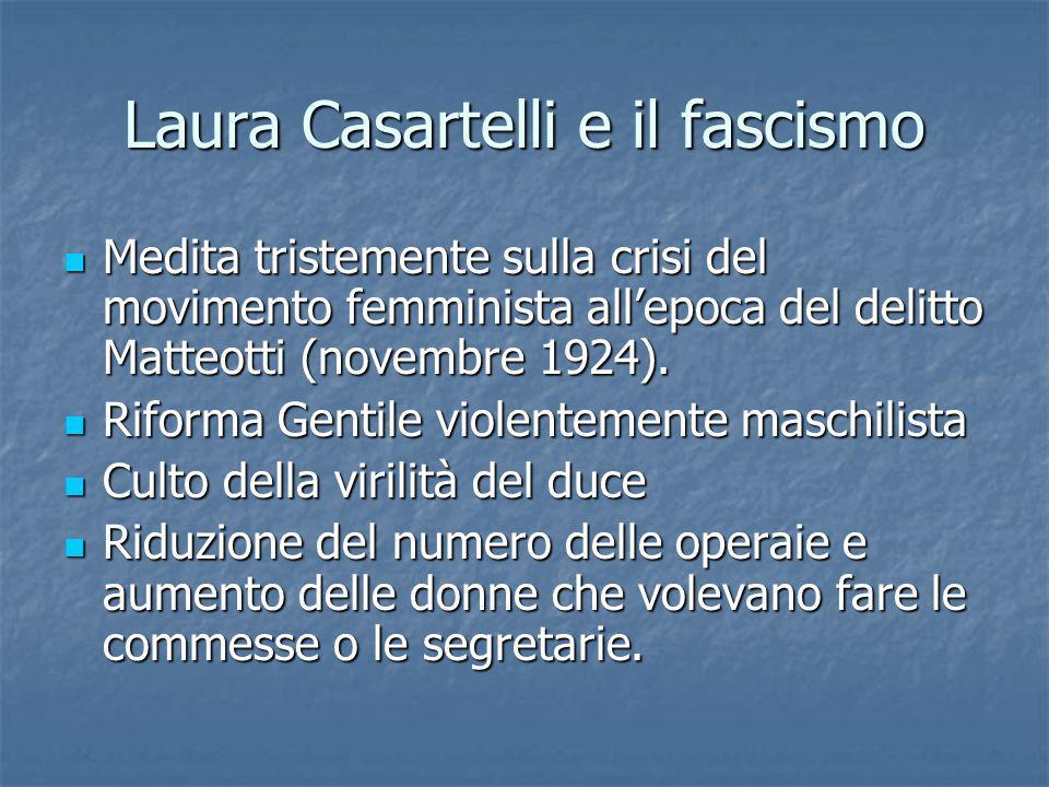 Laura Casartelli e il fascismo Medita tristemente sulla crisi del movimento femminista allepoca del delitto Matteotti (novembre 1924). Medita tristeme