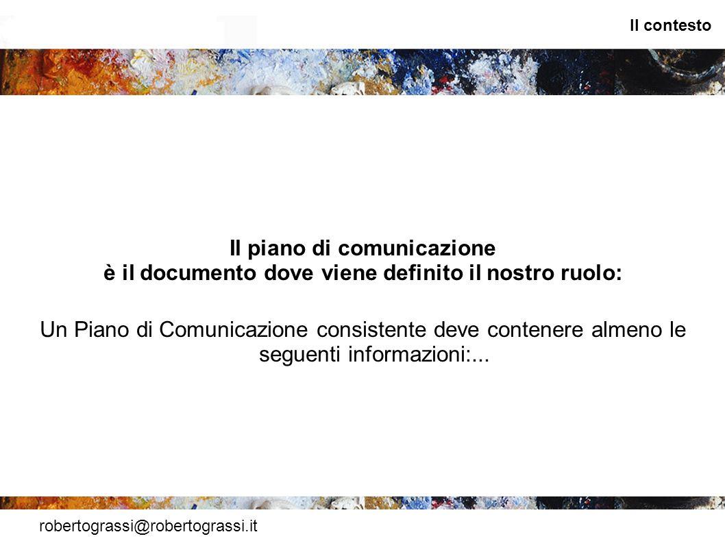 robertograssi@robertograssi.it Il contesto Il piano di comunicazione è il documento dove viene definito il nostro ruolo: Un Piano di Comunicazione con