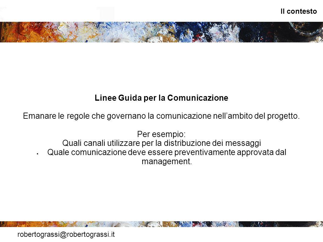 robertograssi@robertograssi.it Il contesto Linee Guida per la Comunicazione Emanare le regole che governano la comunicazione nellambito del progetto.