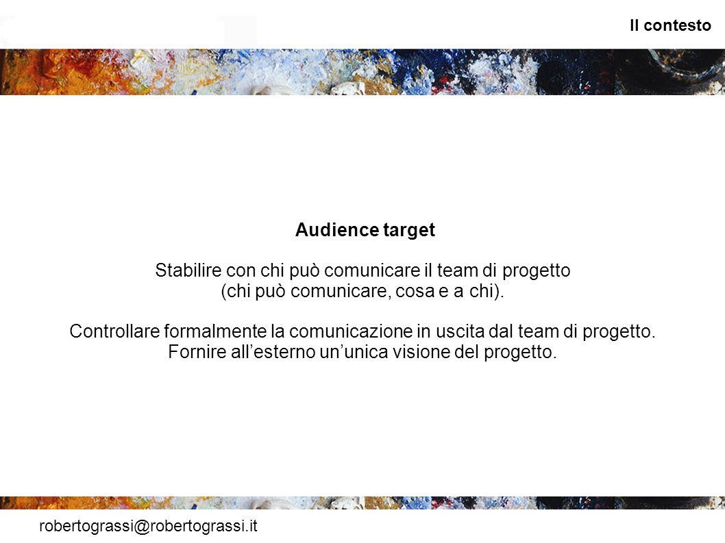 robertograssi@robertograssi.it Il contesto Audience target Stabilire con chi può comunicare il team di progetto (chi può comunicare, cosa e a chi). Co