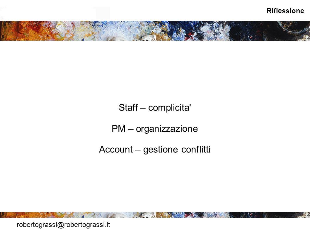 robertograssi@robertograssi.it Riflessione Staff – complicita' PM – organizzazione Account – gestione conflitti