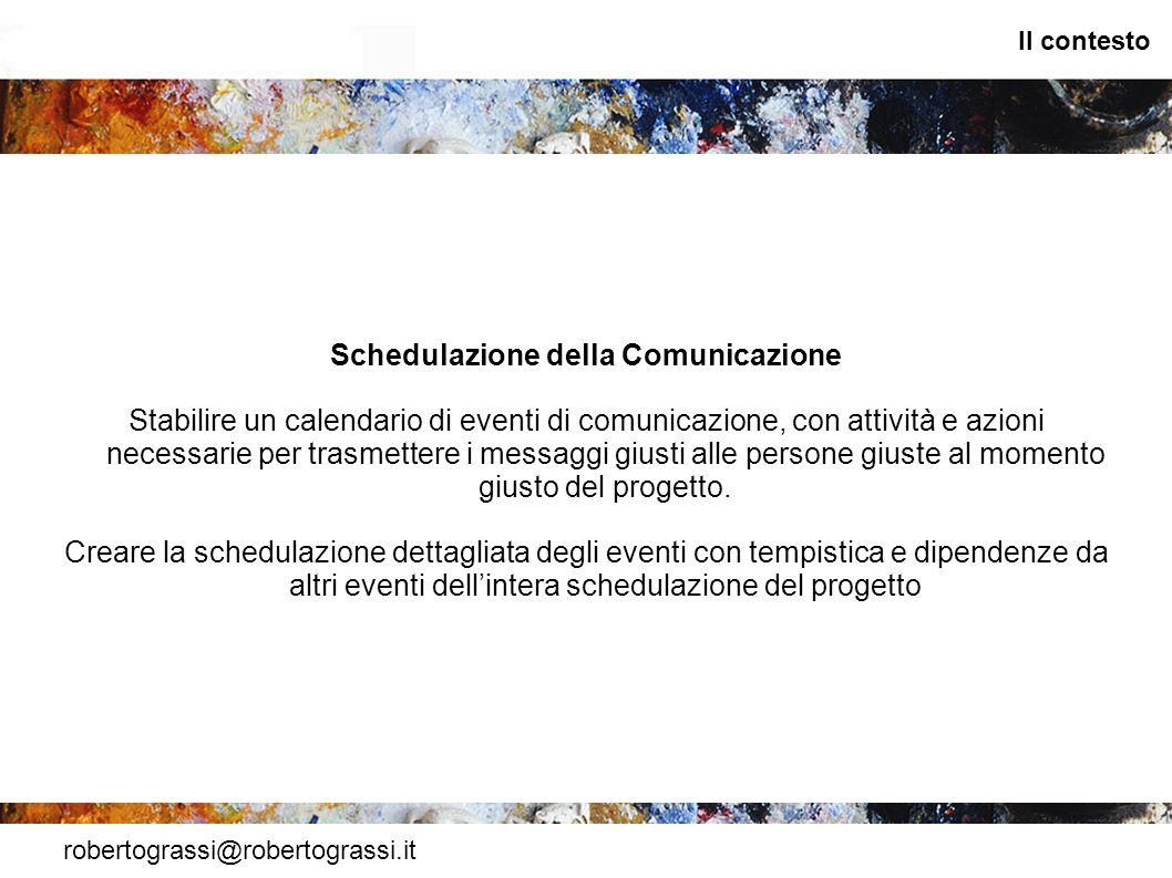 robertograssi@robertograssi.it Il contesto Schedulazione della Comunicazione Stabilire un calendario di eventi di comunicazione, con attività e azioni