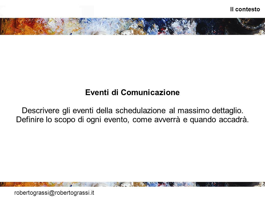 robertograssi@robertograssi.it Il contesto Eventi di Comunicazione Descrivere gli eventi della schedulazione al massimo dettaglio. Definire lo scopo d