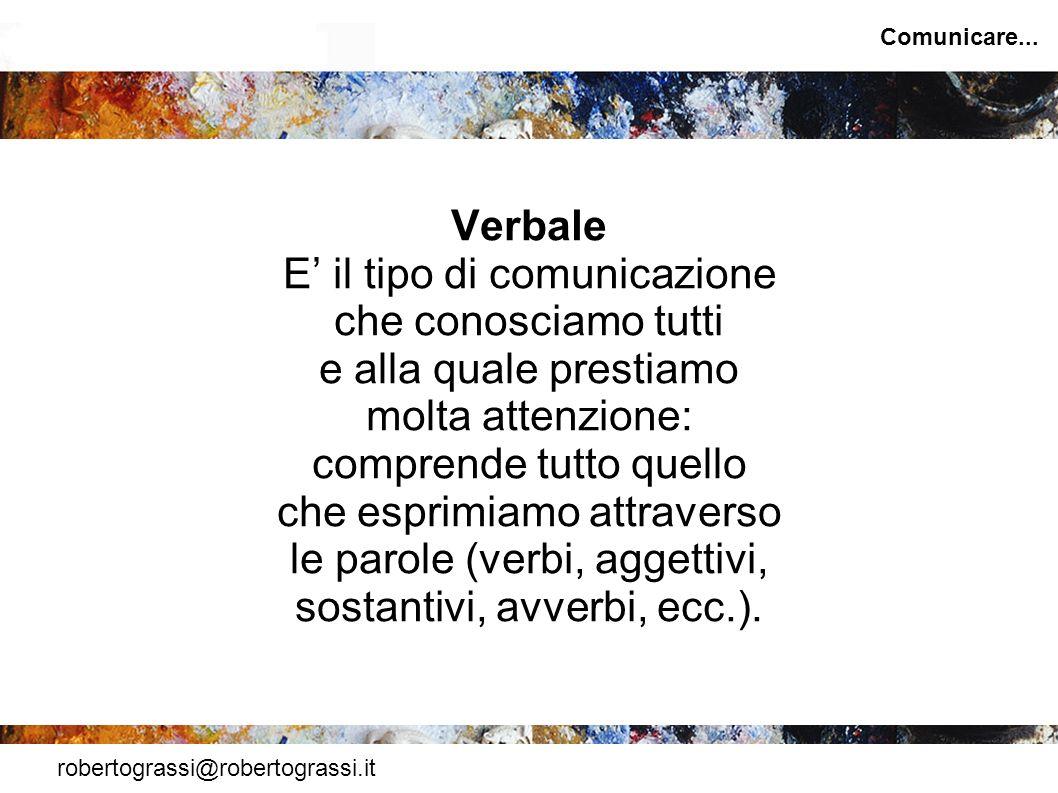 robertograssi@robertograssi.it Comunicare... Verbale E il tipo di comunicazione che conosciamo tutti e alla quale prestiamo molta attenzione: comprend
