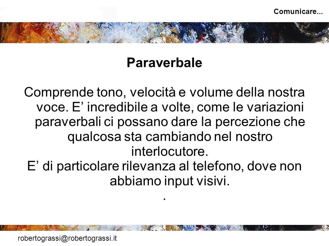 robertograssi@robertograssi.it Comunicare... Paraverbale Comprende tono, velocità e volume della nostra voce. E incredibile a volte, come le variazion