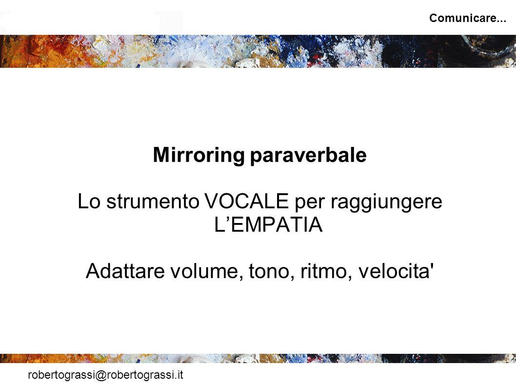 robertograssi@robertograssi.it Comunicare... Mirroring paraverbale Lo strumento VOCALE per raggiungere LEMPATIA Adattare volume, tono, ritmo, velocita