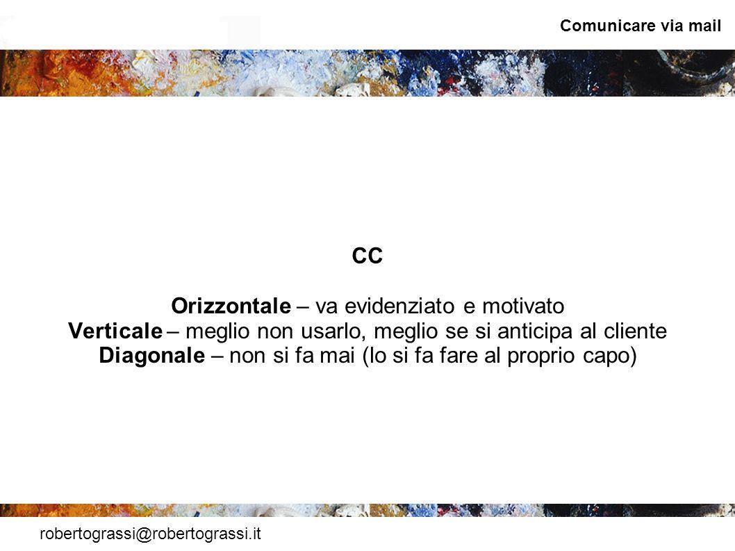 robertograssi@robertograssi.it Comunicare via mail CC Orizzontale – va evidenziato e motivato Verticale – meglio non usarlo, meglio se si anticipa al