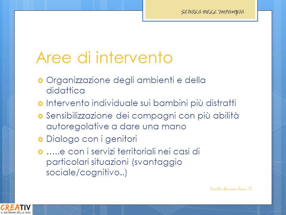 Aree di intervento Organizzazione degli ambienti e della didattica Intervento individuale sui bambini più distratti Sensibilizzazione dei compagni con