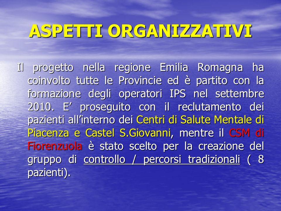 ASPETTI ORGANIZZATIVI Il progetto nella regione Emilia Romagna ha coinvolto tutte le Provincie ed è partito con la formazione degli operatori IPS nel settembre 2010.