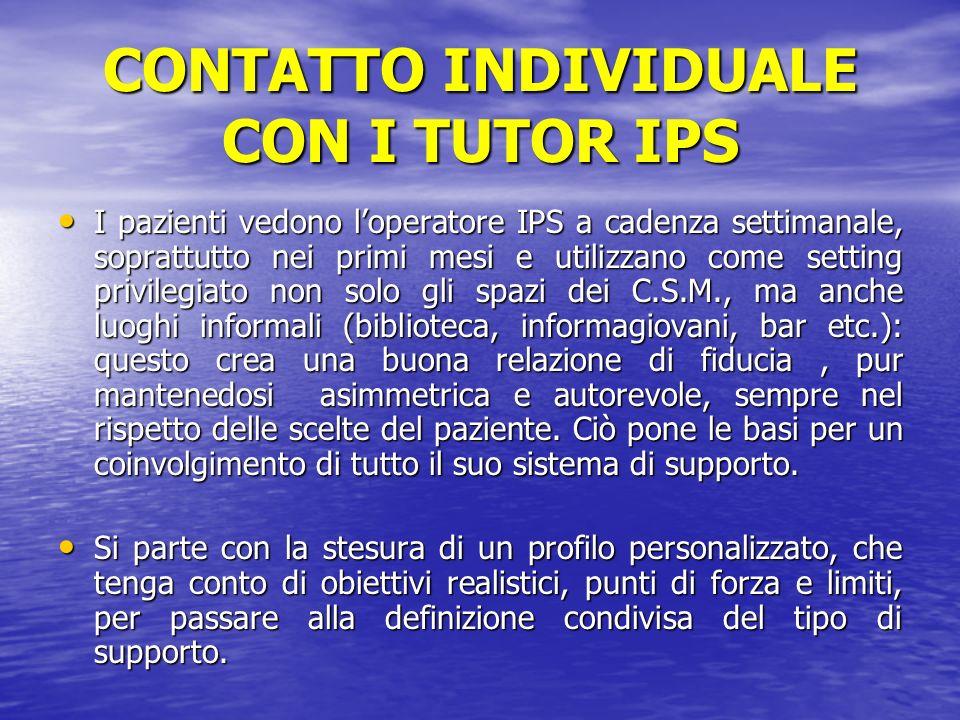 CONTATTO INDIVIDUALE CON I TUTOR IPS I pazienti vedono loperatore IPS a cadenza settimanale, soprattutto nei primi mesi e utilizzano come setting priv