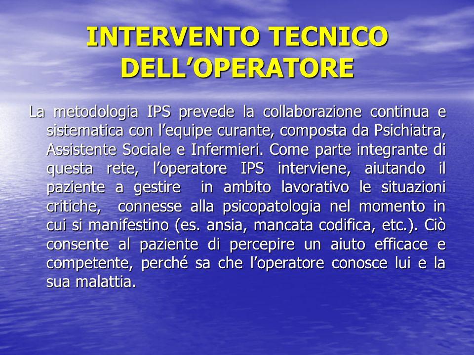 INTERVENTO TECNICO DELLOPERATORE La metodologia IPS prevede la collaborazione continua e sistematica con lequipe curante, composta da Psichiatra, Assistente Sociale e Infermieri.