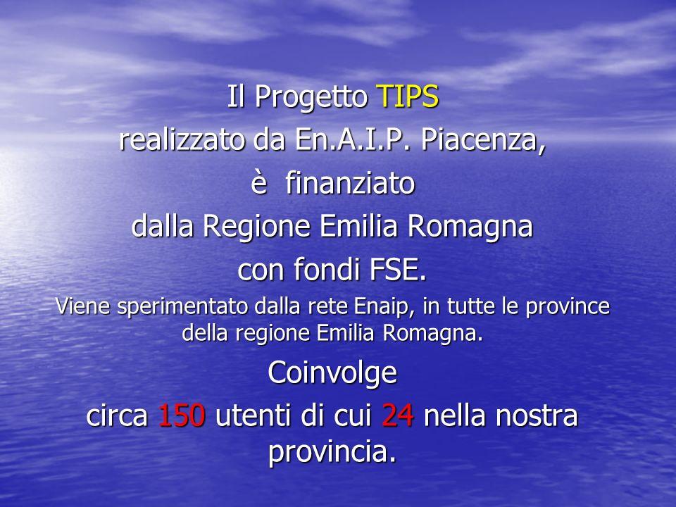Il Progetto TIPS realizzato da En.A.I.P. Piacenza, è finanziato dalla Regione Emilia Romagna con fondi FSE. Viene sperimentato dalla rete Enaip, in tu