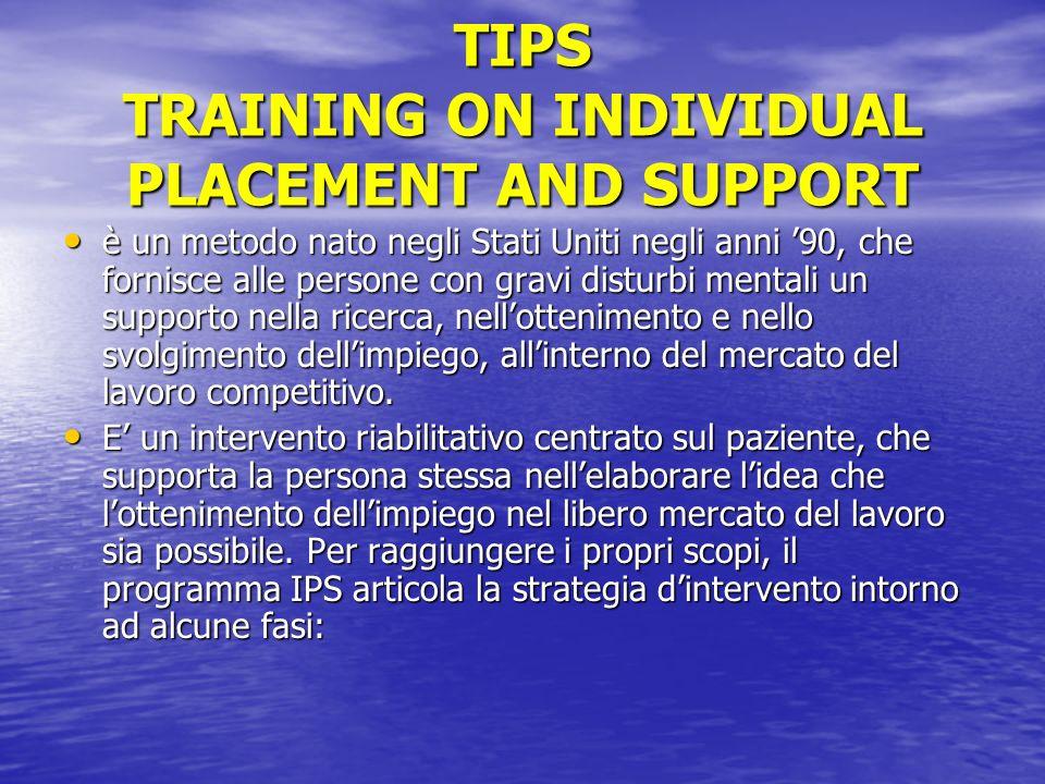 TIPS TRAINING ON INDIVIDUAL PLACEMENT AND SUPPORT è un metodo nato negli Stati Uniti negli anni 90, che fornisce alle persone con gravi disturbi menta
