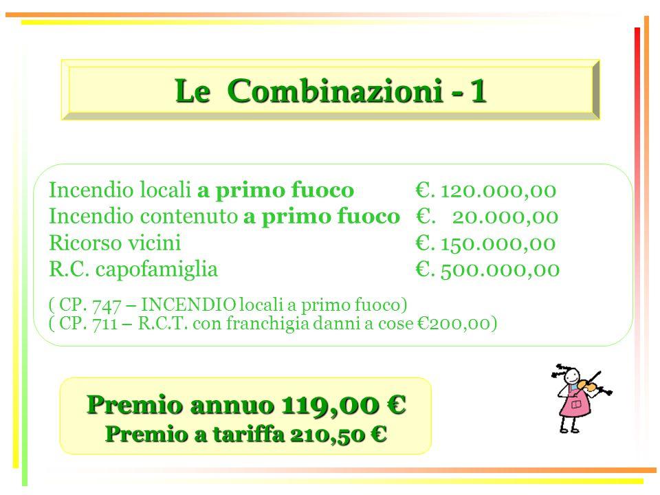Le Combinazioni - 1 Premio annuo 119,00 Premio annuo 119,00 Premio a tariffa 210,50 Premio a tariffa 210,50 Incendio locali a primo fuoco.