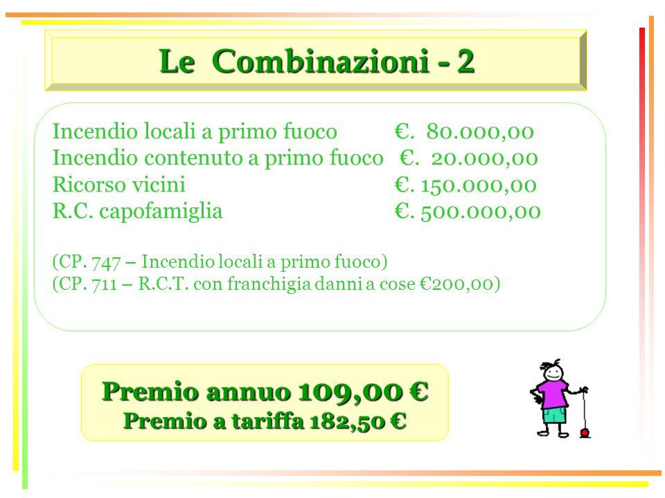 Le Combinazioni - 2 Premio annuo 109,00 Premio annuo 109,00 Premio a tariffa 182,50 Premio a tariffa 182,50 Incendio locali a primo fuoco.