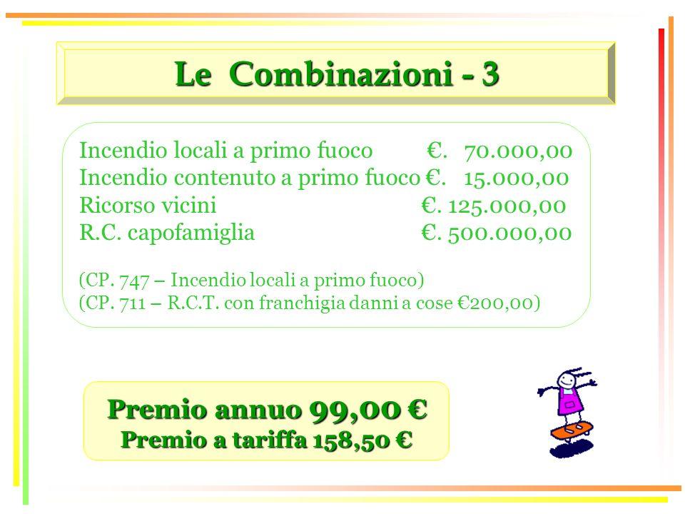 Le Combinazioni - 3 Premio annuo 99,00 Premio annuo 99,00 Premio a tariffa 158,50 Premio a tariffa 158,50 Incendio locali a primo fuoco.