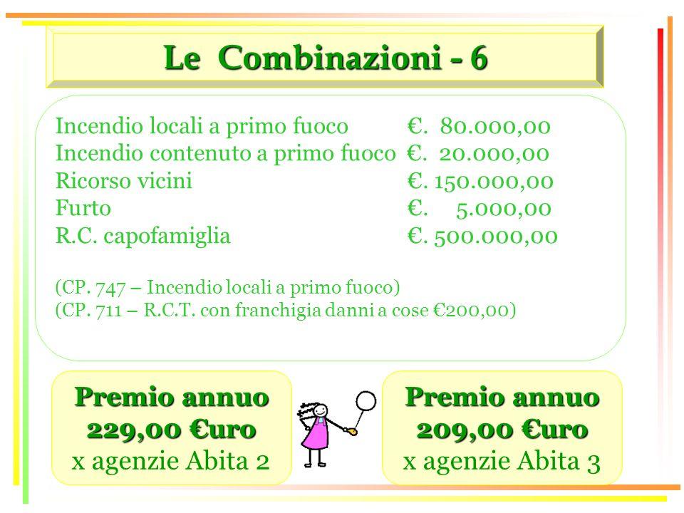 Le Combinazioni - 6 Premio annuo 229,00 uro x agenzie Abita 2 Incendio locali a primo fuoco.